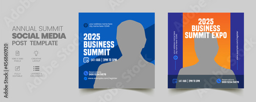 Foto Business annual summit conference social media post and web banner template