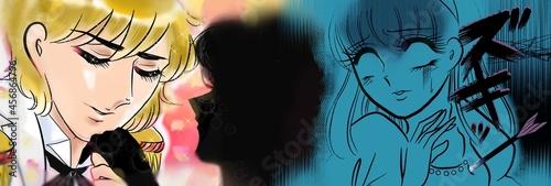 Canvas-taulu 70年代少女漫画金髪イケメン王子様にプロポーズされた女の子の横顔と振られショックを受ける美人のイラスト