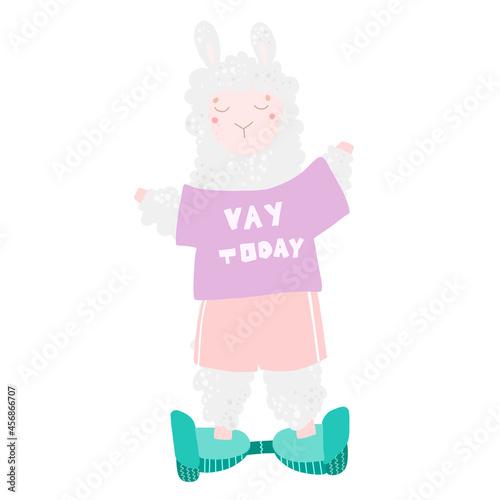 Fototapeta premium Cute llama rides on a Segway, sports, leisure. Vector illustration in flat style. Baby girl.