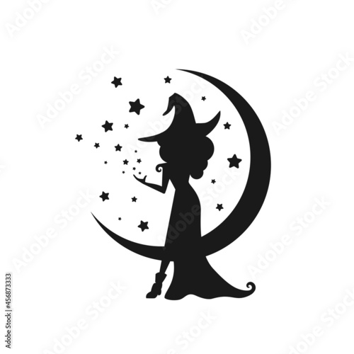 Tablou Canvas Black witch with stars and crescent in the night sky