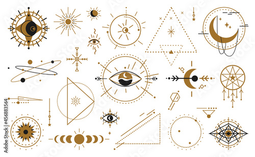 Obraz na plátně Magic witchcraft wicca occult symbols mystical geometric signs isolated