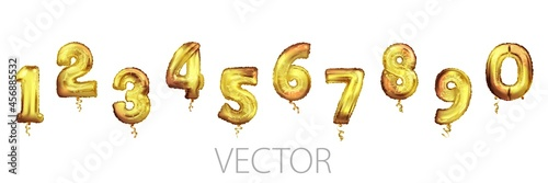 Fotografie, Obraz Golden Number Balloons 0 to 9