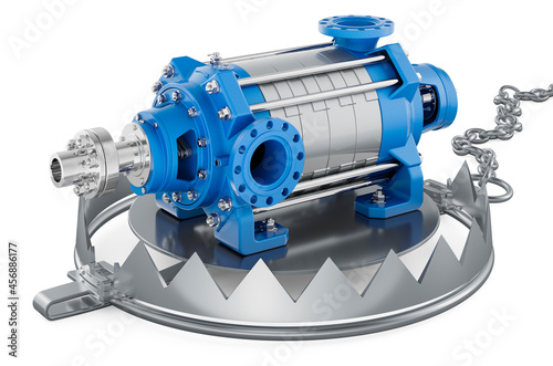 Canvastavla Bear Trap with horizontal multistage pump, 3D rendering