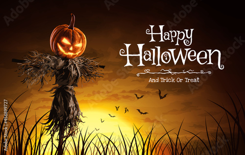 Photo Vector illustration of Halloween pumpkin scarecrow on a wide field with the moon