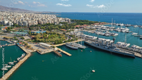 Canvas-taulu Aerial drone bird's eye view of small port and Park of Maritime Tradition where