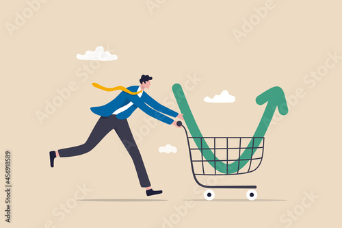Carta da parati Buy on the dip, purchase stock when price drop, trader signal to invest, make profit from market collapse concept, smart businessman investor buy stock with down arrow graph in shopping cart