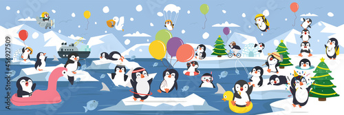 Obraz na plátně North pole Arctic family penguins activities with different emotions and poses
