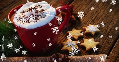 Image of mug of hot chocolate with snowflakes