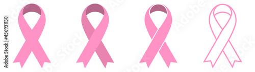 Canvas Print Pink ribbon icons set