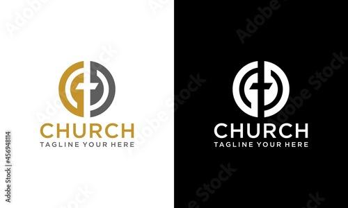 Fotografiet Church logo sign modern vector graphic abstract design