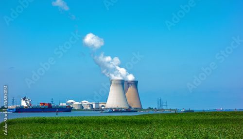 Fotografie, Obraz Harbour of Antwerp, Belgium with nuclear power plant