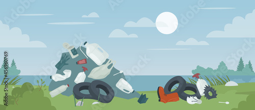 Fotografie, Obraz Polluted river or lake beach, problem of nature pollution vector illustration