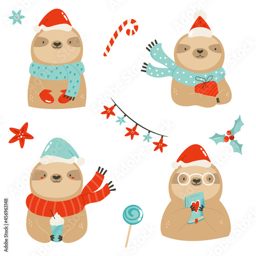 Fototapeta premium Funny collection of cute sloths in winter clothing