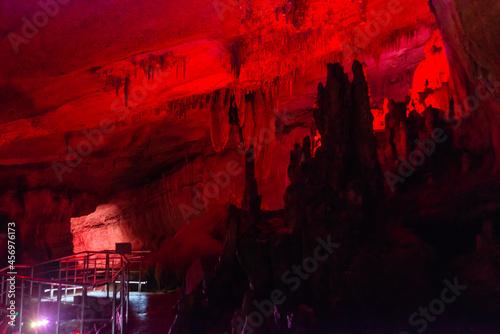 Obraz na plátně SATAPLIA, KUTAISI, GEORGIA: Sataplia cave in Georgia illuminated by colorful lights