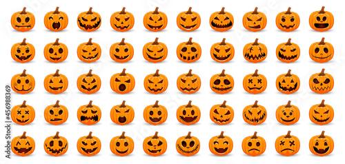 Fotografie, Obraz Big Set pumpkins on white background