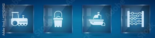 Obraz na plátně Set Toy train, Sand bucket, boat and Abacus