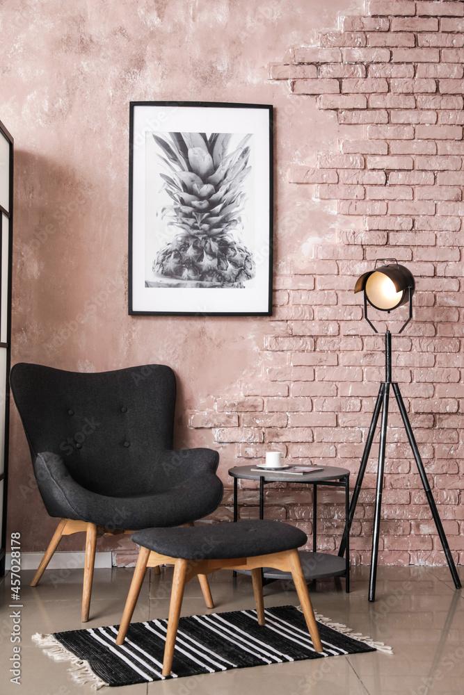 Leinwandbild Motiv - Pixel-Shot : Interior of modern room with stylish armchair and folding screen