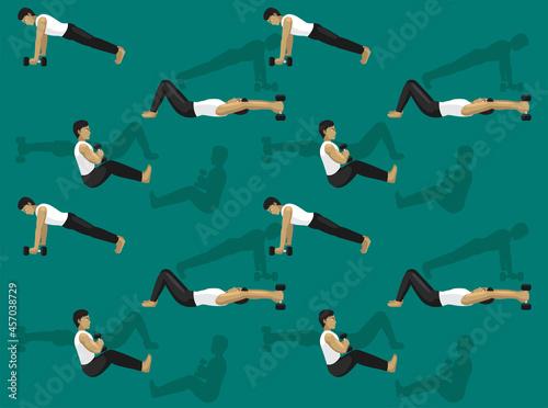 Manga Ab Dumbbell Exercise Cartoon Character Seamless Wallpaper Fototapet
