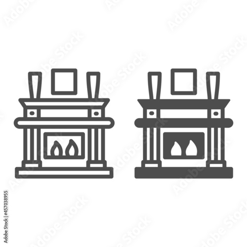 Fotografiet Fireplace, fireside in living room line and solid icon, interior design concept, chimney vector sign on white background, outline style icon for mobile concept and web design