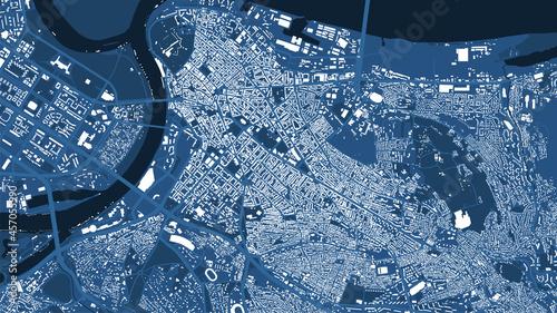 Billede på lærred Detailed blue map poster of Belgrade city, linear print map