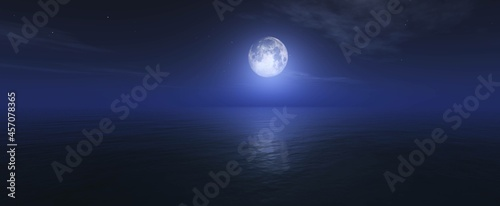 Fotografiet Moon over ocean surface, night seascape with moon,