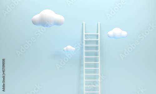 Fotografiet Stairs and clouds represent effort. success at work