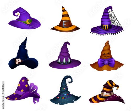 Fotografia, Obraz Cartoon witch, sorceress or enchantress and charmer Halloween hats, vector icons