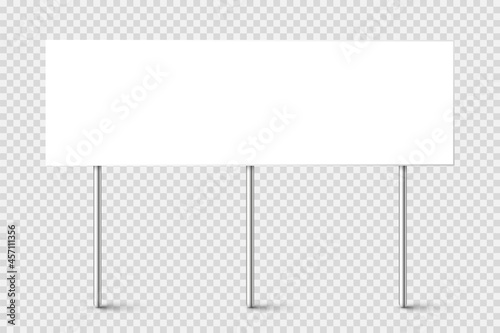 Fotografiet Blank board with place for text, protest sign isolated on transparent background