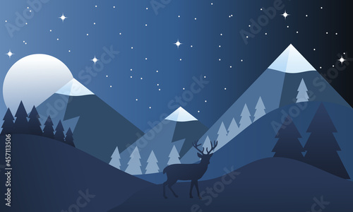 A winter night landscape with mountains and a lone reindeer.