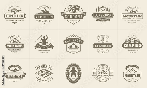 Photo Camping logos and badges templates vector design elements and silhouettes set