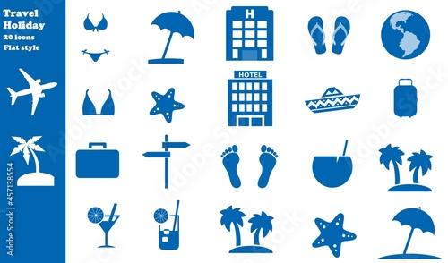 Fotografia, Obraz Voyages et vacances en 20 icônes bleus, collection