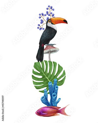 Fototapeta premium Bright composition with Toucan. Hand-drawn illustration, digitally colored.