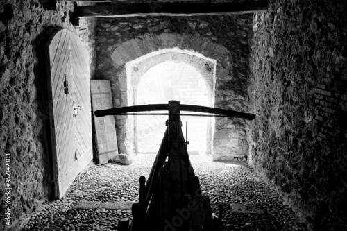 Fototapeta crossbow defending entrance to the medieval castle - defense concept