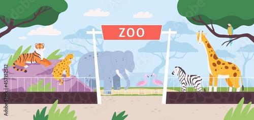 Fototapeta premium Cartoon zoo park entrance gate with savannah and jungle animals. Flat safari landscape with zebra, african elephant and giraffe vector scene
