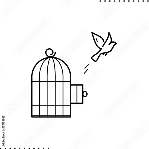 the bird flew out of the cage, the concept of freedom, release from captivity Fototapet