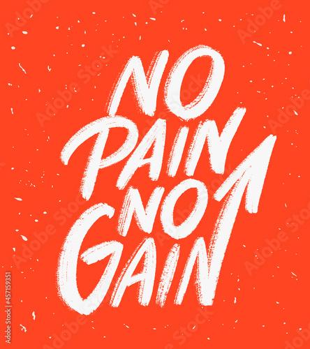 Photo No pain no gain. Motivational handwritten poster.