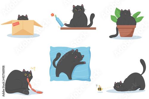 Stampa su Tela Set of black funny cat with big eyes