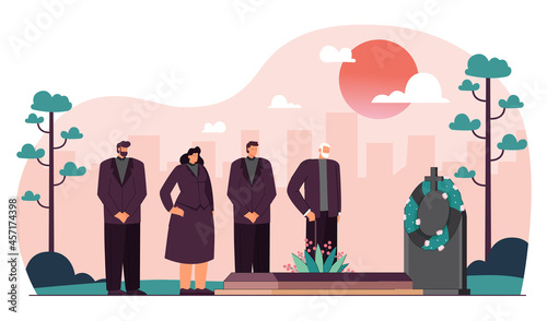 Fotografie, Obraz Cartoon people in mourning clothes attending funeral