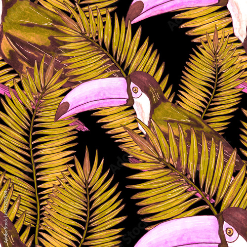 Fototapeta premium Watercolor seamless pattern with toucan. Exotic botanical jungle wallpaper with tropical bird and leaves. Bright summer pattern background.