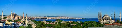Fotografie, Obraz The Blue Mosque, The Hagia Sophia and the Istanbul roofs, beautiful Marmara sea