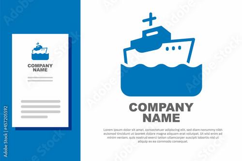 Obraz na plátně Blue Cruise ship icon isolated on white background