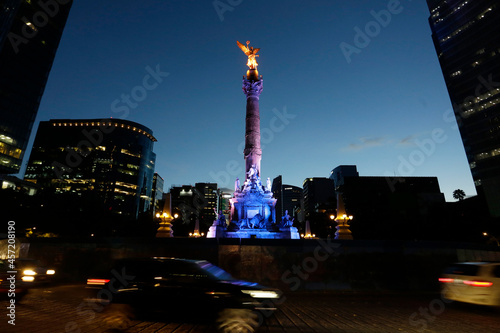 The iconic monument Angel of Independence is seen after the finish of a restoration work, in Paseo de la Reforma avenue, Mexico City, Mexico.