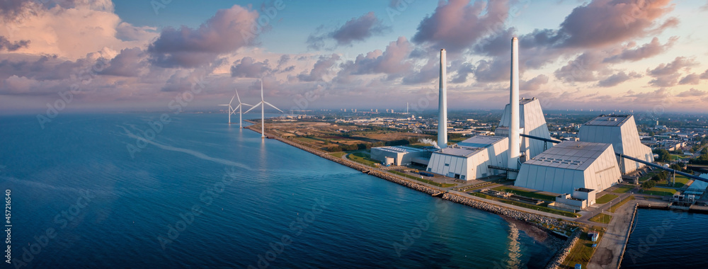 Aerial view of the Power station. One of the most beautiful and eco friendly power plants in the world. ESG green energy.