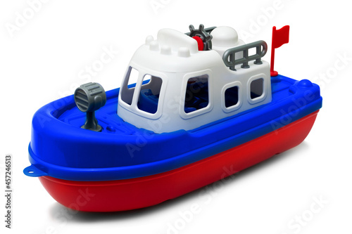 Fototapeta color plastic ship toy isolated on the white background. Isolate.