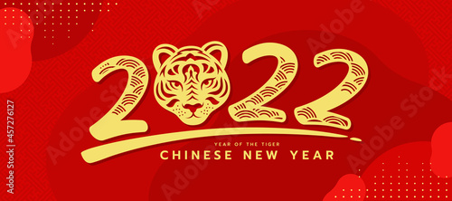 Fotografering chinese new year, year of the tiger banner - gold 2022 number of year with head