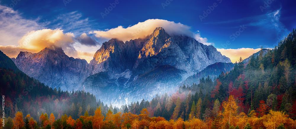 Leinwandbild Motiv - Roxana : Triglav mountain peak at sunrise