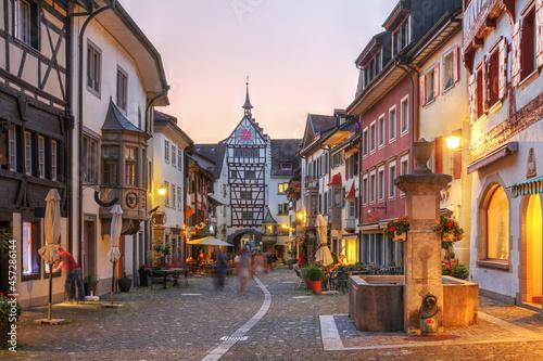 Obraz na plátně Evening in Stein am Rhein, Switzerland with the Untertor Tower-Gate
