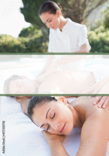 White banner with copy space against couple receiving a head massage