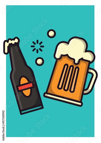 Digitally generated image of beer bottle and beer pitcher icon against green background
