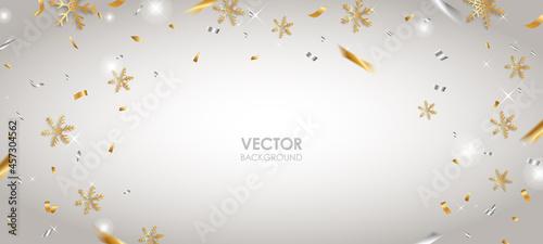 Obraz na plátně 雪の結晶背景 ベクター素材 白